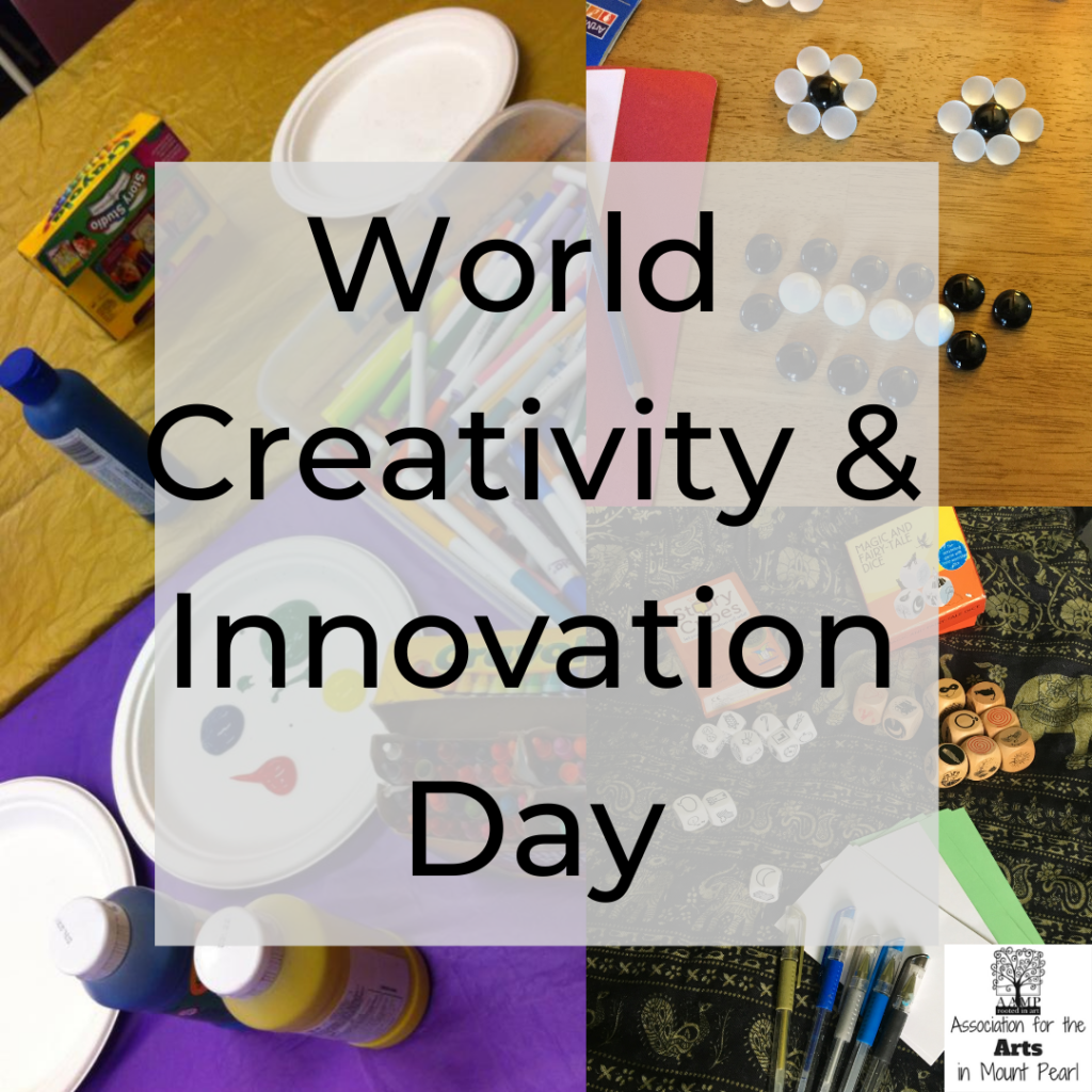 In the background, there are three photos, one of art supplies including paint, crayons and markers, one of a smiley face made of shiny stones, and another of dice with simple images on them used for storytelling. The AAMP logo is in the bottom right corner. The words 'World Creativity and Innovation Day' appear in black on a grey square in the centre of the image.