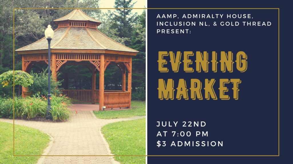 Picture of a gazebo on the left half of the image. Text explaining the Evening Market on the right half of the image.