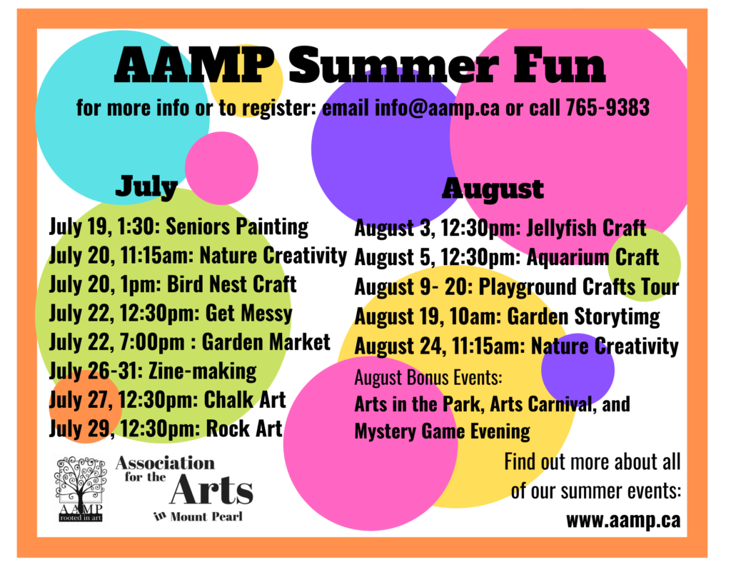 Info graphic with the dates of upcoming events through July and August listed.