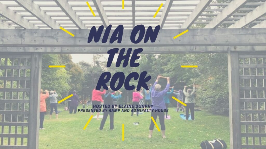 Info graphic with the title Nia On The Rock overlaid on top of an image of people exercising.