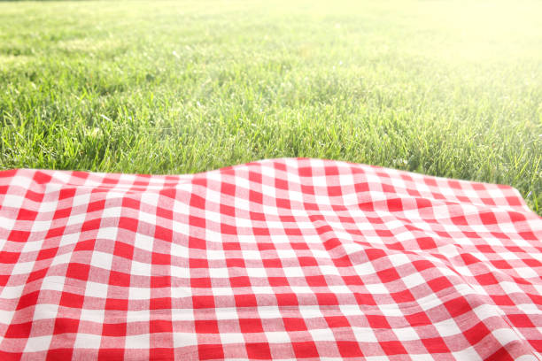 Red and white blanket on top of grass.